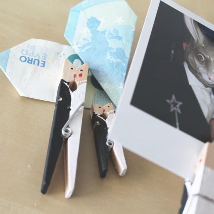 Wäscheklammer bemalt als Brautpaar Geldgeschenk zur Hochzeit