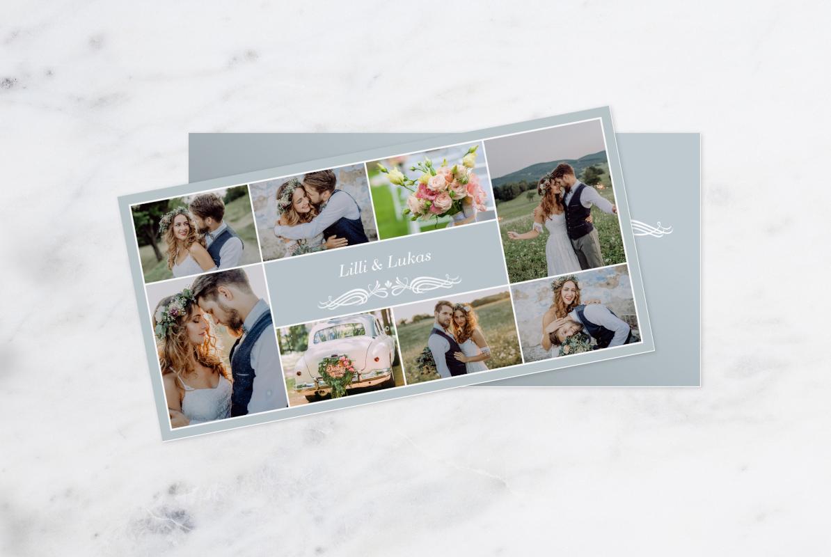 Dankeskarte des Brautpaares auf Marmorhintergrund.