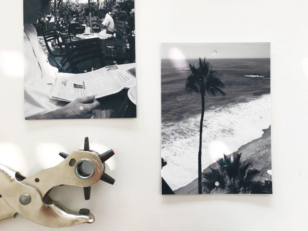 Lochzange und Fotoabzüge für Wanddeko DIY: