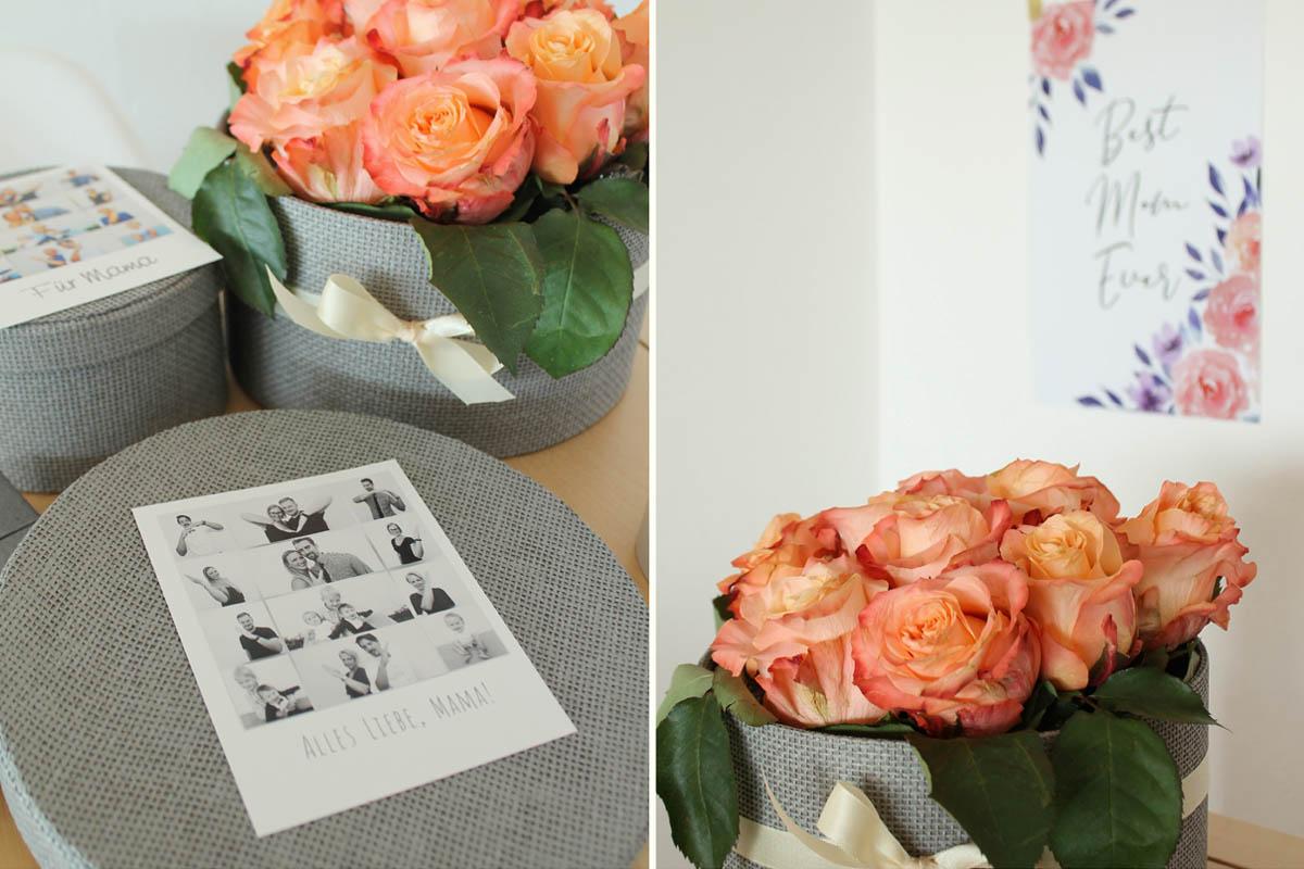 Fertige Flowerbox als Geschenkidee mit Retro-Print verpackt.