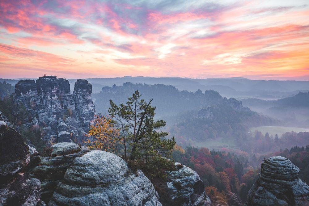 Sächsische Schweiz im Sonnenuntergang
