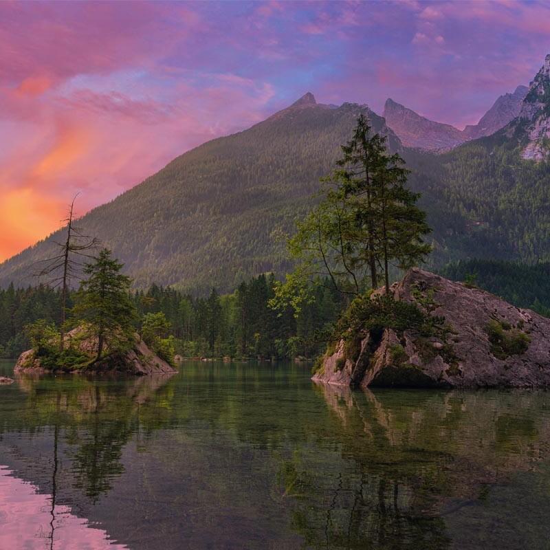 Hintersee in Bayern bei Sonnenuntergang