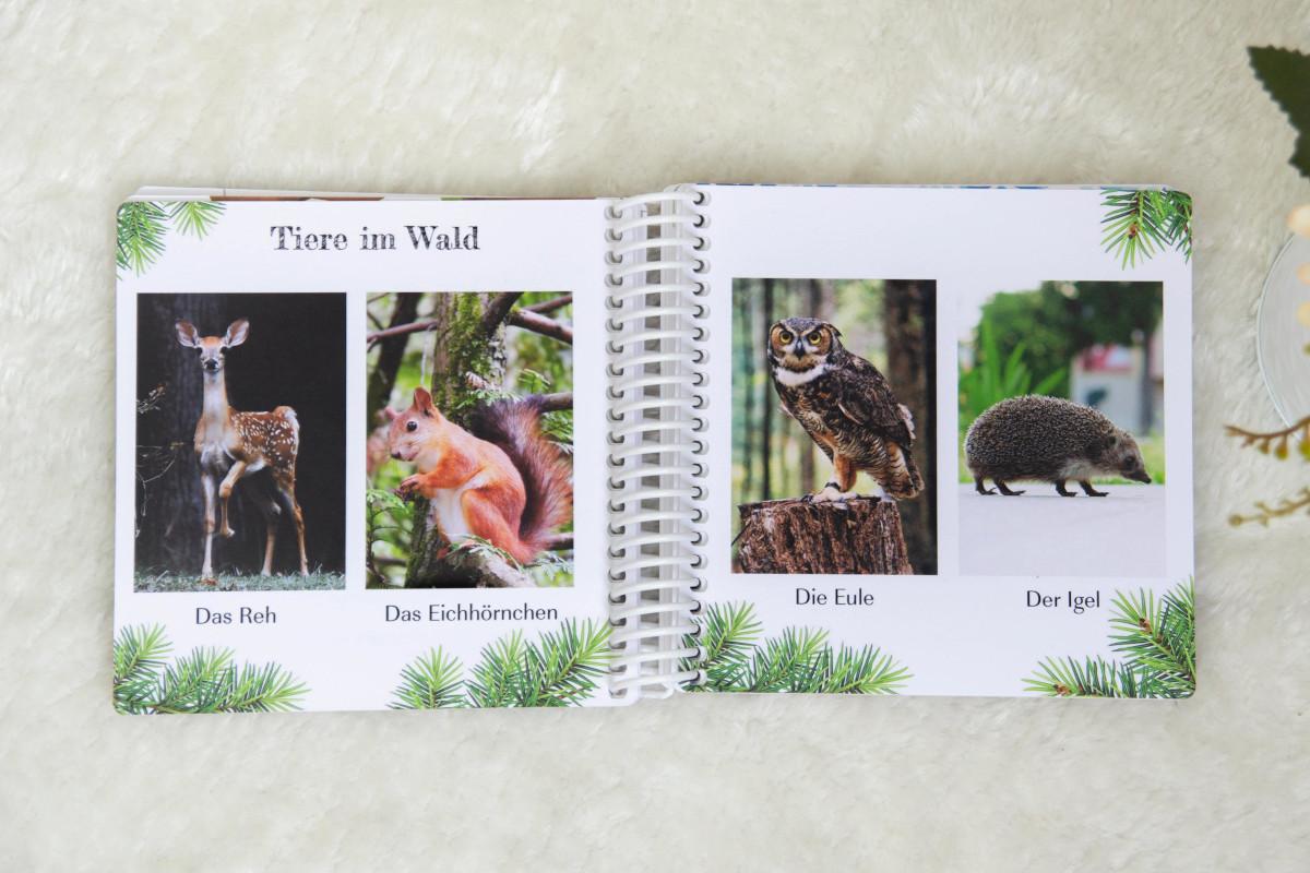 Doppelseite im Pixum Fotobuch Baby mit Tieren aus dem Wald