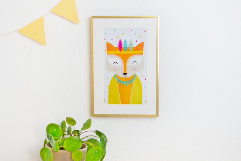 Wandbild eines gemalten Fuchses als Kindermotiv