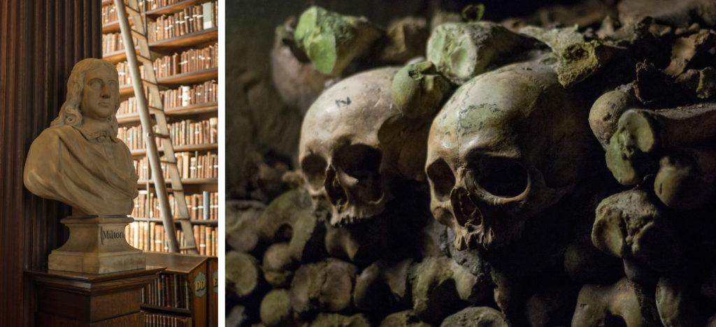 Hier sind Fotos in schwierigen Lichtverhältnissen zu sehen. Auf dem linken Bild wurde eine Büste im Trinity College in Dublin fotografiert. Das zweite zeigt Totenschädel aus den Katakomben in Paris.