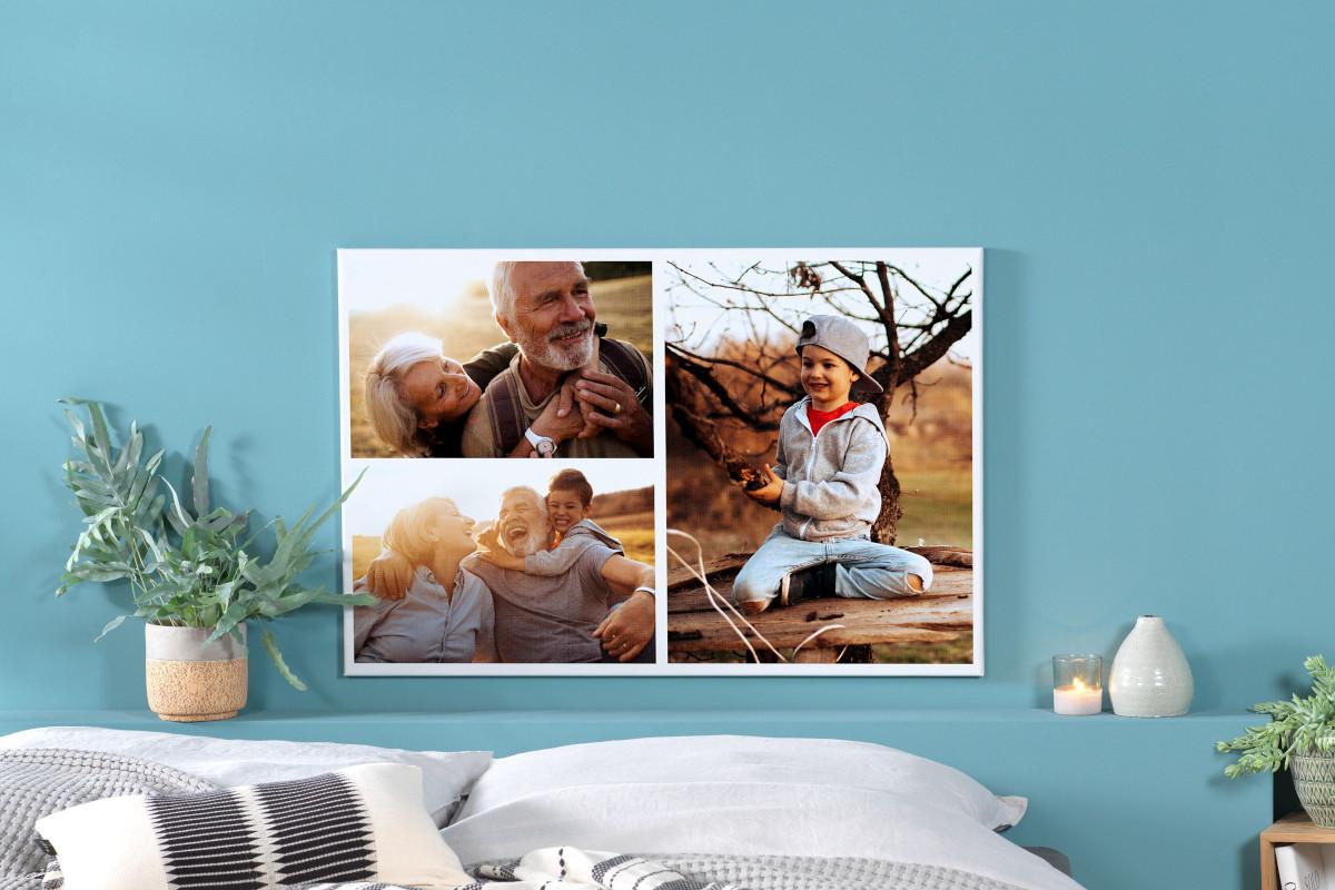 Pixum Wandbild an türkisfarbener Wand: Oma und Opa mit Enkel im Herbst in der Natur, lachen