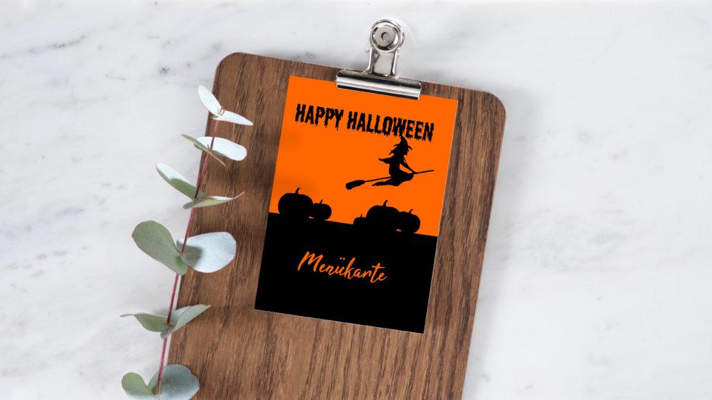Gestalte deine eigene Menükarte mit Halloween Motiven