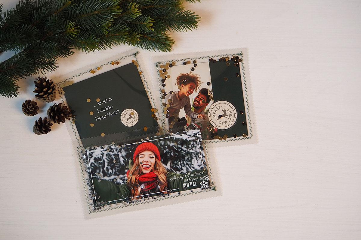 Pixum Fotogrußkarte in Folie eingenäht mit Glitzer