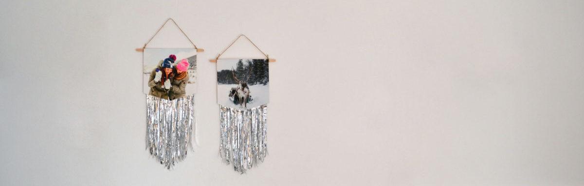 DIY Weihnachtsdeko: Foto-Wimpel mit Lametta