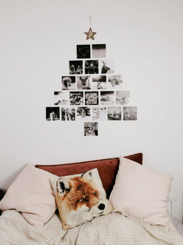 DIY Weihnachtsbaumalternative mit Fotos an der Wand
