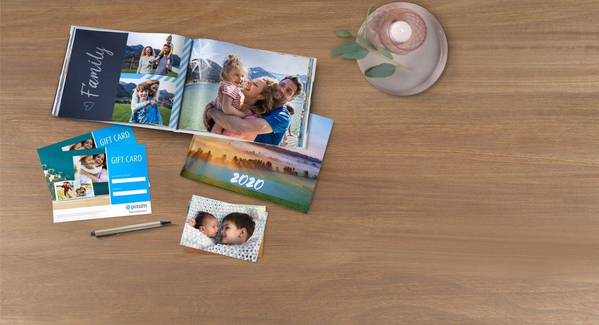 Geschenkgutschein für Fotoprodukte.