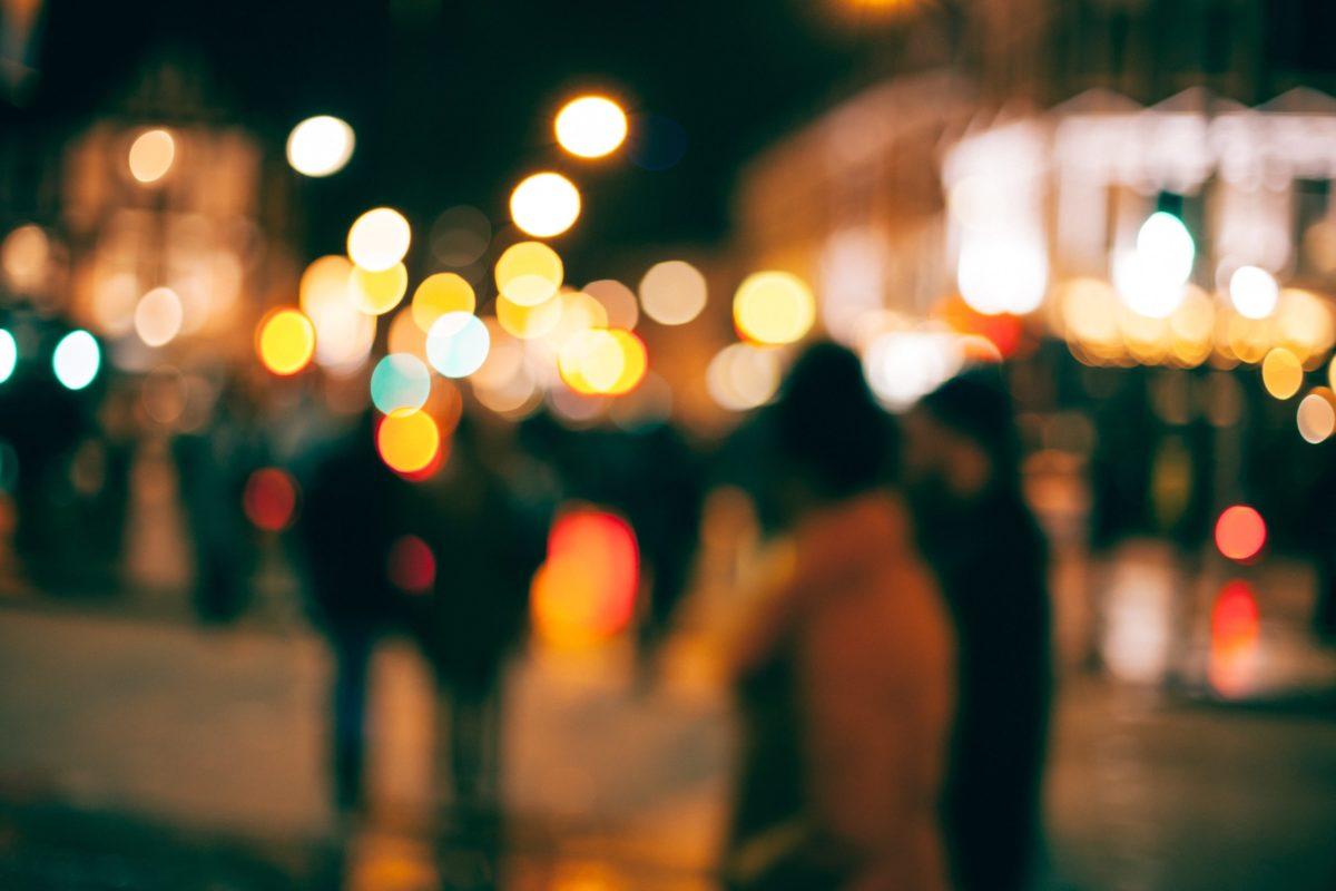 Verschwommene Lichter einer Stadt