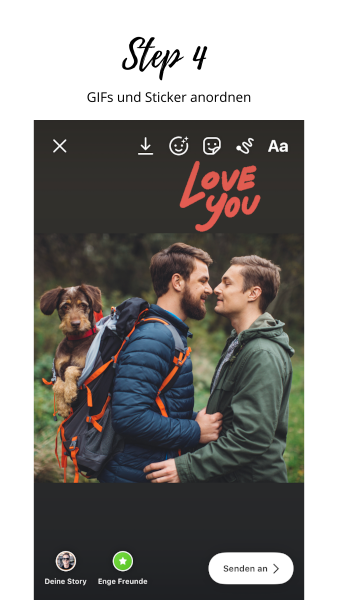 GIFs, Sticker oder Emoji vergrößern und anordnen