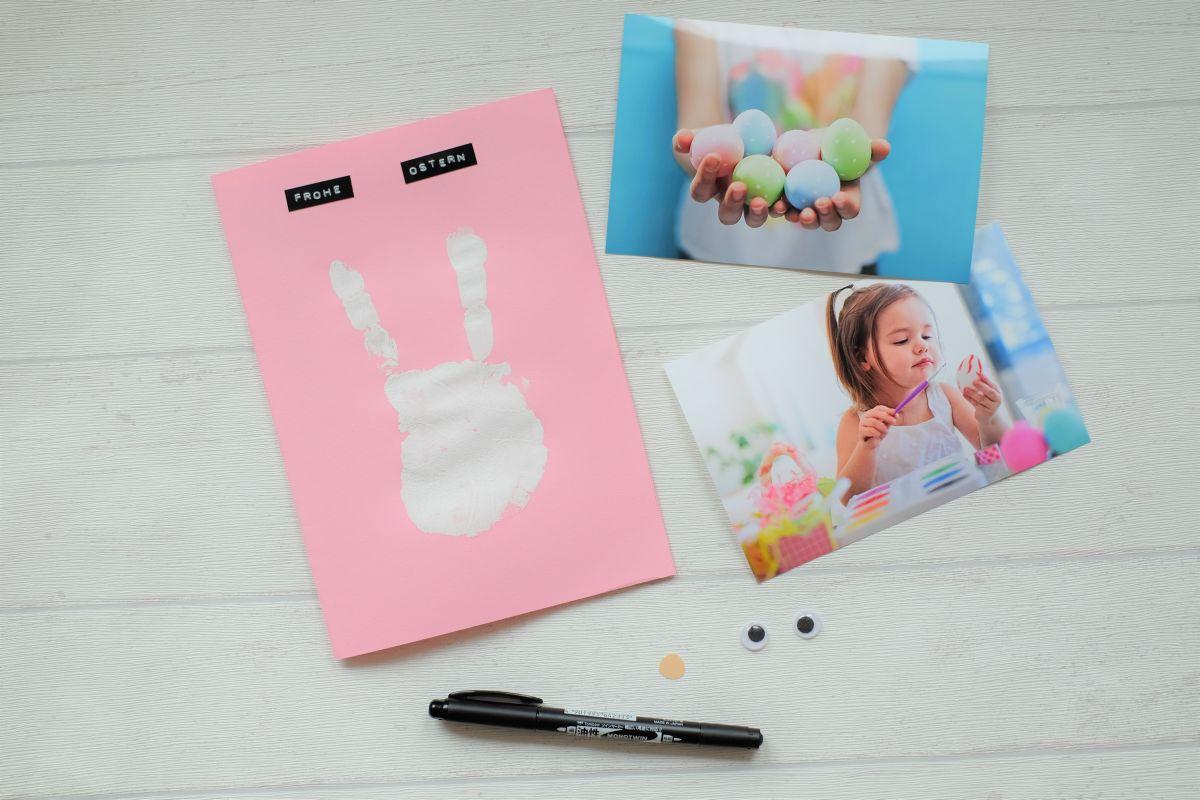 Osterkarte mit Handabdruck deines Kindes. Materialliste.