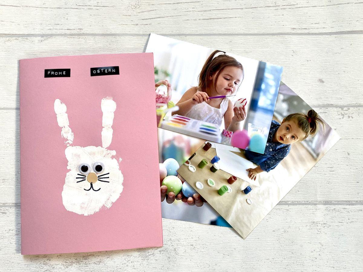 Osterkarte mit Handabdruck deines Kindes und Pixum Fotoabzügen