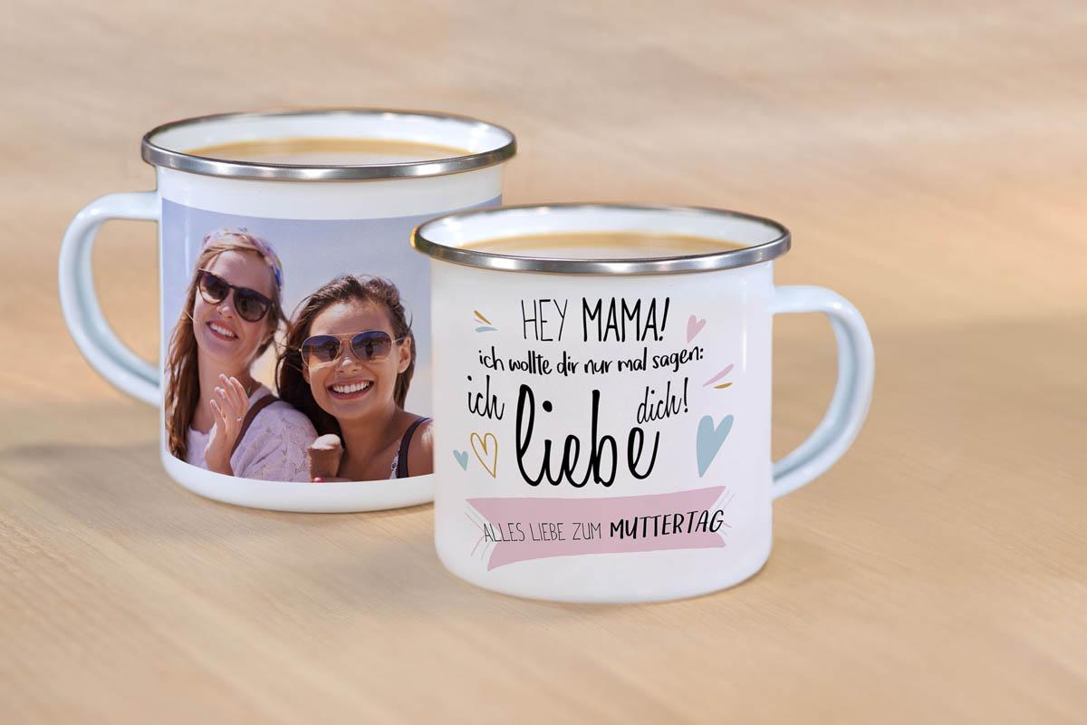 Emaille-Tasse mit Design und Foto
