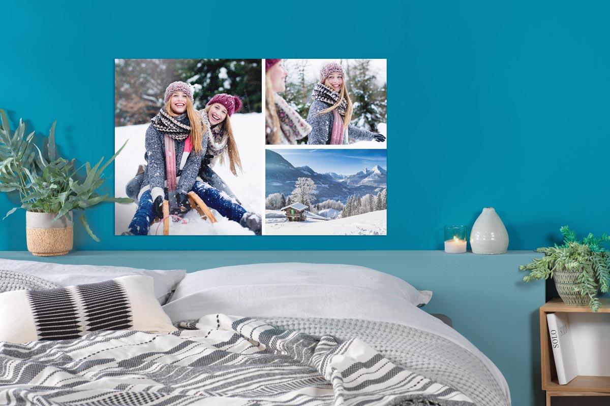 Foto-Collage mit winterlichen Motiven auf einem Pixum Wanbild